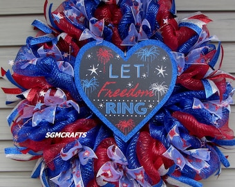 Patriotic Wreath Let Freedom Ring Wreath July 4th Wreath Memorial Day Wreath Veterans Day Wreath Military Wreath Independence Day Wreath