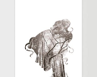 Girl Print, Forest Wall Art, Minimalist Decor, Black and White, Nature Poster, Trees and Branches, Dreamy Print, Instant Download