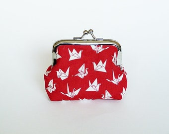 Coin purse, origami bird fabric, red and white cotton origami bird design, cotton purse