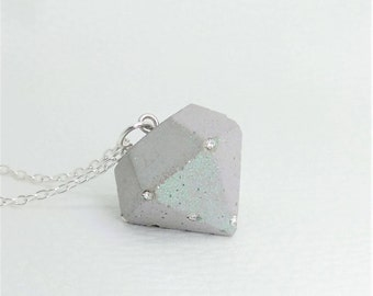 Necklace Concrete & Bling-Bling-large diamond glass crystals-gift-