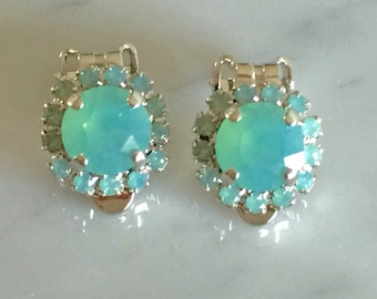 Pacific Opal Crystal Halo Clip On Earrings, Silver