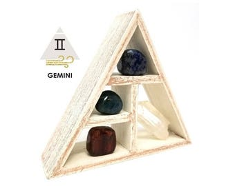 GEMINI Zodiac Crystal Set  / Unique Astrology Stones and Wooden Geometric Shelf Holder in Gift Box / Gemini Gifts for Her ~ 09