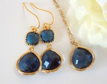 Wedding Gifts Set, Navy Blue Earrings and Neklace, Gold Filled, Montana Blue, Dark Blue, Pendant Set, Bridesmaids Gifts, Bridesmaids Gifts