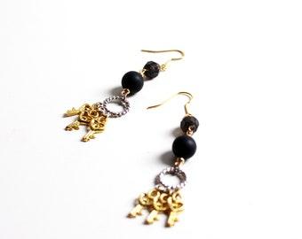 Earrings golden key and black balls