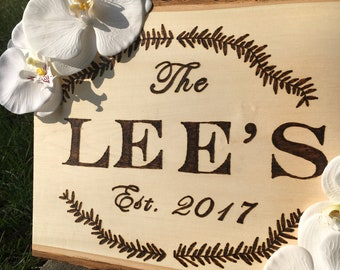 Custom wood burned last name art