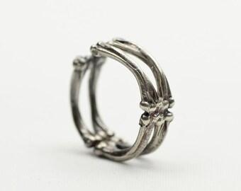 Silver labradorite ring Bone ring Witch ring Voodoo ring