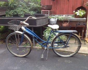 Vintage Sears bicycle, bike, girls bike, 1960s,sixties, yard art, garden decor