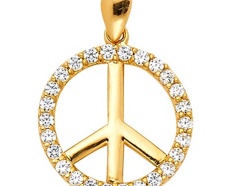 14K Solid Yellow Gold Peace Sign CZ Round Cut Ladies Pendant Charm 0.25 Ct 1 Grams