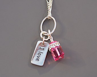 I Love Horses Charm Necklace with Pink Swarovski Crystal - Equestrian Gifts - Gifts for Horse Lovers