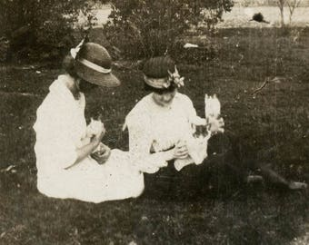 vintage photo 1920 Girls Hold Kittens in their Laps on Lawn