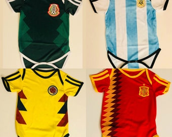 One Piece Baby World Cup Jersey: Mexico, Colombia, Argentina, Spain, Sweden, Russia, Belgium, Germany