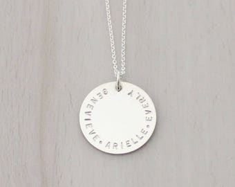 "Personalized Mother's Necklace - Grandma Necklace - Kids Name Necklace - Large 7/8"" Disc Necklace in Silver or Gold"