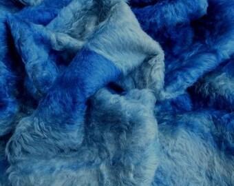 Fat 1/8 Royal Blue Batik German mohair 18mm dense/14in x 20in OR 36cn x 51cm