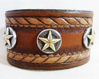 Southwestern T-Star Leather Cuff Bracelet