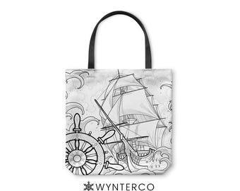 TOTE BAG - Pirate Ship Tote Bag - Canvas tote bag, Pirate Ship Water Tote Bag, Ocean shoulder carry bag, Yoga Tote Bag Wynterco Waves tote