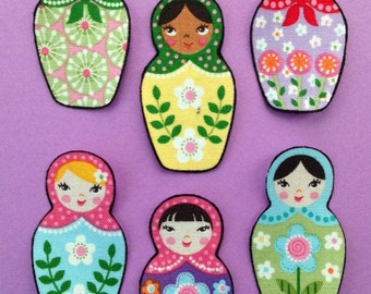 SALE*Set of Six Adorable Matryoshka Doll Appliques*Handmade*Robert Kaufman Fabric/264