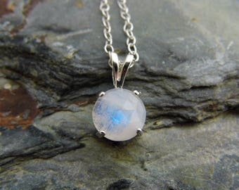 Rose Cut Rainbow Moonstone Pendant Rainbow Moonstone Necklace Sterling Silver 8mm Round Cabochon