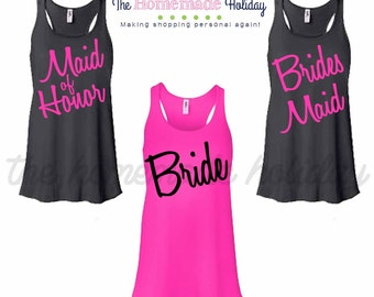 Bride and Bridesmaids Bachelorette Party Tank tops, Wedding tank tops, Bridal tanks, bridal party shirts