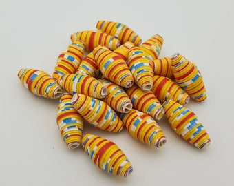 Yellow Red Blue | Paper beads | Paper Bead Jewelry | Recycled Upcycled | Loose Paper Beads | Jewelry Supplies | Beading Supplies | Bicone