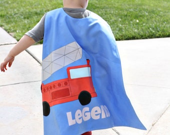 Fire Truck Personalized Superhero Cape - Boys Birthday - Gift for Kids - Superhero party cape - Photo Prop - Transportation - Pretend Play