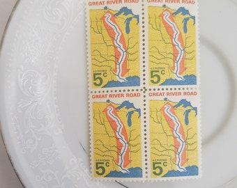4 unused Vintage Postage Stamps // 5 Cent Vintage Stamps for Mailing