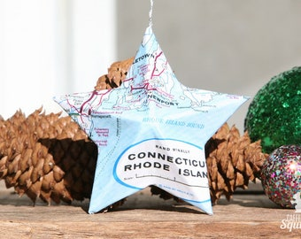 Newport, Rhode Island - Vintage Map Covered Star Ornament - RI, Home Decor, East Coast, Christmas, Tree, Travel, Map Ornament
