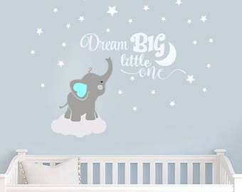 Dream Big Little One Elephant Decal Name Wall Decal Elephant Wall Decal Elephants Baby Boy Room Decor Decals Nursery Boys Decals  sc 1 st  Etsy & Elephant wall decal | Etsy