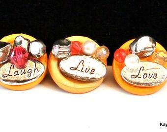 Three Laugh Live Love Thumbtacks Push Pins Thumb Tacks for Cork Board Push Pins for Bulletin Board Office Decor