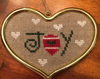 Joy and Love Hand-Stitched Christmas Ornament