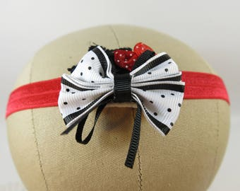 Valentine Baby Headband - Red and Black Baby Headband - Photo Prop Headband - Bow Hair Accessory - Birthday Photo Prop - Fancy Baby Headband
