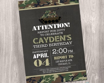 Camo Birthday Invitation, Camo Invitation, Camouflage Invitation, Army Invitation, Camo Birthday, Printable Camo Invitation, Army Party