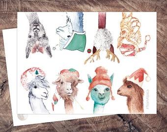 Xmas Team Alpaca-postcard-eco-Christmas card-animal postcard alpaca A6, climate neutral
