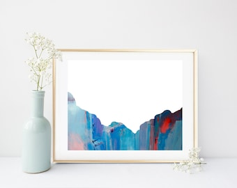 Abstract Landscape, Mountain Art Print, Abstract Art Print, Printable Wall Art, blue Abstract Art, Wall Art,  Home Decor, Wall Decor