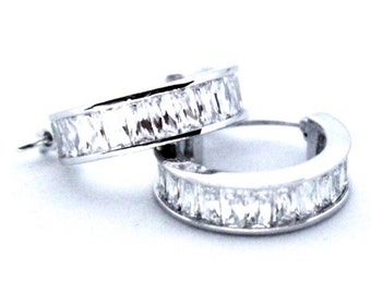 Large 14K White Gold on Silver Hoop Earrings
