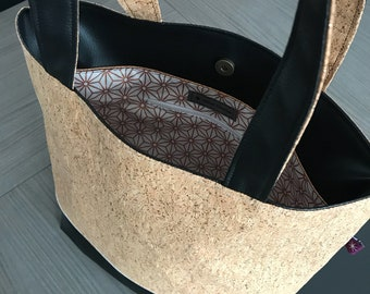 Cork and faux leather handbag / tote bag