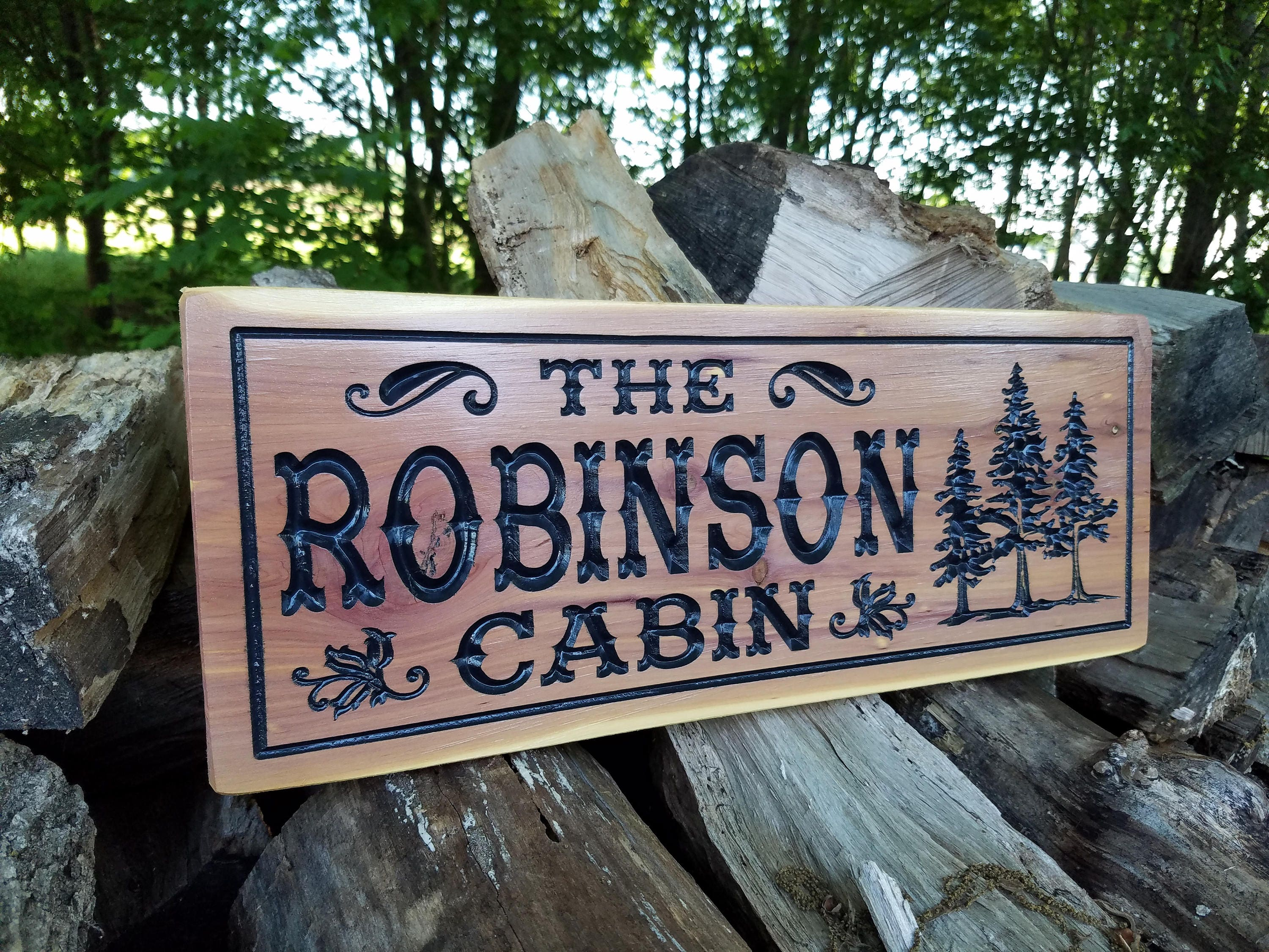 Cabin Signs Wooden Signs Custom Outdoor Name Sign Personalized