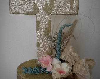 Rustic Wedding Centerpiece - Rustic Cross Centerpiece - First Communion Centerpiece - Religious Centerpiece - Baptism Centerpiece