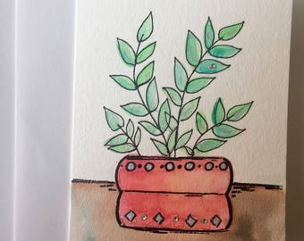 potted succulent, blank card, any occasion card, birthday card, thinking of you card, thank you card, home decor