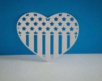 USA flag in white paper heart cut