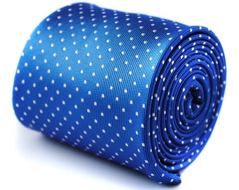 electric royal blue tie with white pin dots by Frederick Thomas FT435