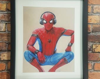 Hand Dawn Spider-man Homecoming Spiderman Framed Print