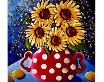 Sunflowers In Red Blue Background Fun Colorful  Whimsical Folk Art Ceramic Tile