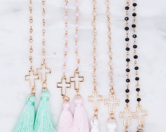 4mm Glass Bead with Cross and Tassel Necklace