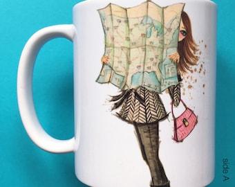 Ruby Road Trip, Coffee Mug, Fashion illustration, Bella Pilar, Fashion mug
