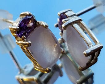 Ethereal Amethyst Earrings, Vintage Sterling Silver Earrings Emerald Cut Amethyst and White Stone Earrings, Amethyst Birthstone Earrings