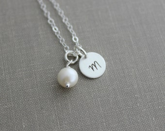 Mini Initial Jewelry 925 Sterling Silver Personalized Monogram Necklace, with Swarovski pearl  Simple Modern,  - Custom - Mini Monogram