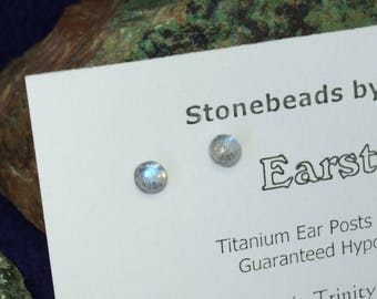 Longer Posts Rainbow Moonstone Blue Tint 4mm Stud Earrings Earings Titanium Post and Clutch Hypo Allergenic Newfoundland Icy Cool