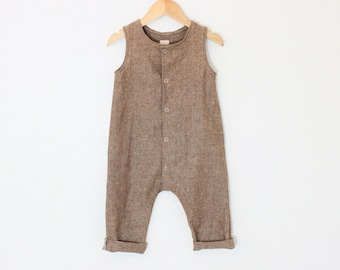 Made to Order: Baby Linen/Cotton Snap Up Romper in Nutmeg