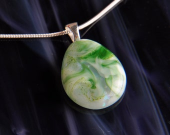 Handmade Dichroic Silver Fused Glass Pendant Necklace