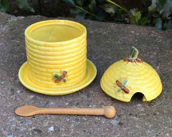 Goebel Honey Jar Honey  Yellow Ceramic Honey Pot  Goebel W Germany
